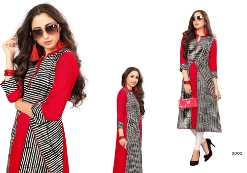 Red Rayon New Kurti