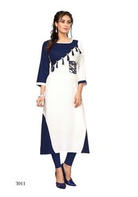 White & Blue Fashionable Kurti