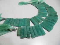 Natural Amazonite Long Baguette Shape Beads
