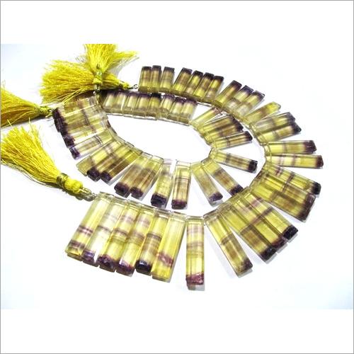 Natural Yellow Fluorite Long Baguette Shape Beads