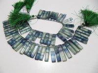Natural Green Fluorite Long Baguette Shape Beads