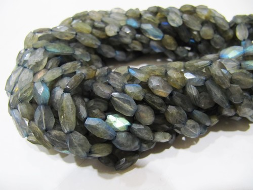 Natural Blue Flashy Labradorite Oval Faceted Beads