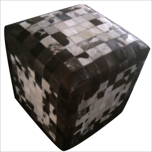Hair on Leather Pouf