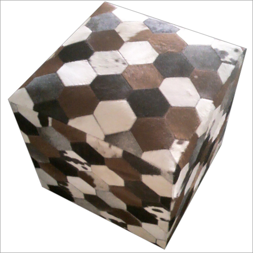 Black-White-Grey-Brown Pure Leather Pouf