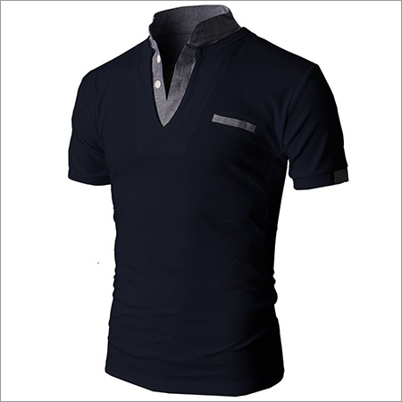 Short Sleeve Chinese Collor Plain T-Shirt