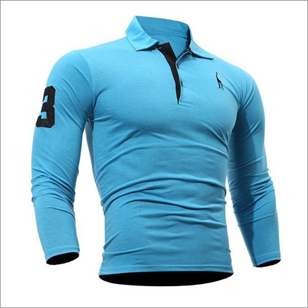 Mens Long Sleeve Collar T-shirt
