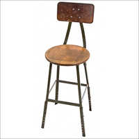 Round Wooden Top Bar Chair