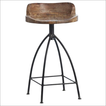 Wooden Swivel Brown Bar Stool