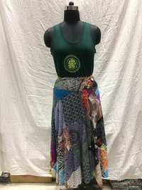 Ladies Patchwork Rapron Long Skirt
