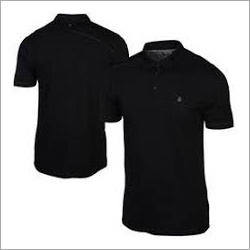Plain Black Polo Collared T Shirt