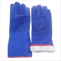 Blue Leather Winter Gloves
