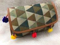 Tussar Silk Colourful Clutch