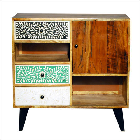 Wooden 3 Drawer 1 Door Sideboard