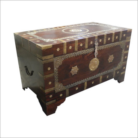 Wooden Brass Cash Box