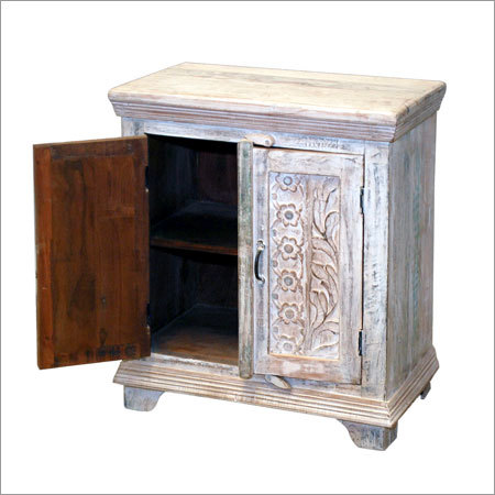 Carved Wooden 2 Door Bedside