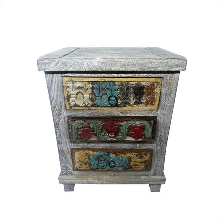 Carved Reclaimed Wooden Bedside