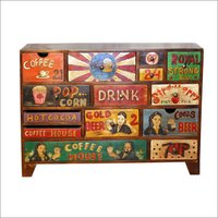 Hand Painted Wooden Drawer Chest
