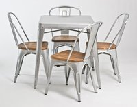 Iron & Wooden Seat Industrial Dining Set