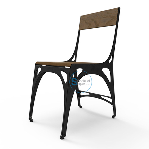 Wooden Backrest & Seat Industrial Dining Chair
