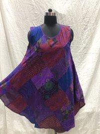 Ladies Stonewash Patchwork Umbrella Dress