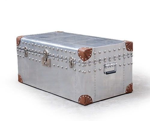Aviation Trunk with Leather Edges