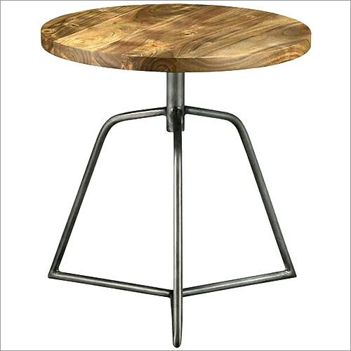 Iron Side Table With Mango Wood Top