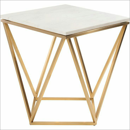 Square Pipe Table With Marble Top