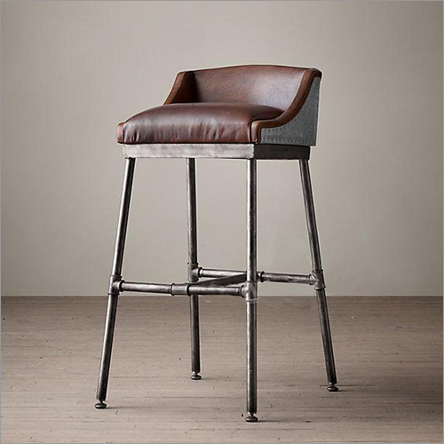 Industrial Iron Bar Chair with Leather Seat