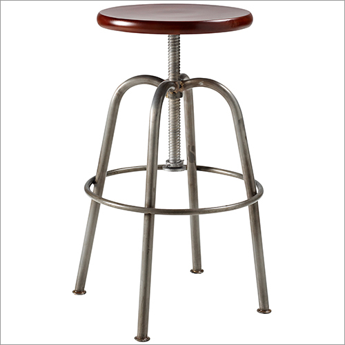 Iron Pipe Bar Stool with Mango Wood Seat