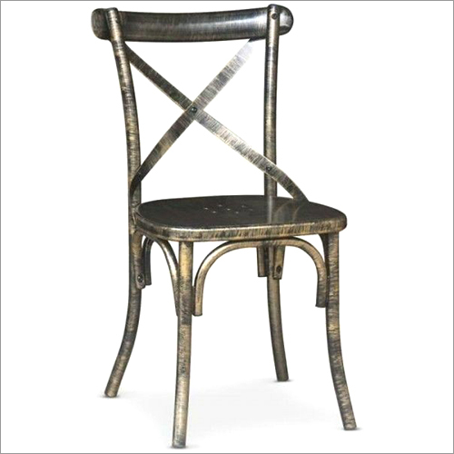 Cross Back Dining Chair with Metal Back and Seat
