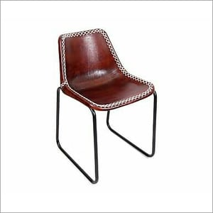 Iron Pipe Dining Chair with Leather Seat
