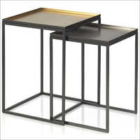 Nesting Table With Metal Sheet Top