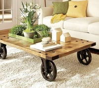 Cofee Table With Cast Iron Wheels