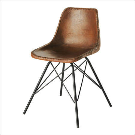 Leather and Metal Industrial Chair Without Armrest