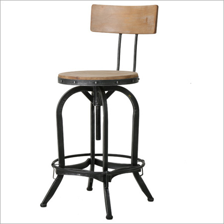 Industrial Adjustable Wood and Metal Bar Stools