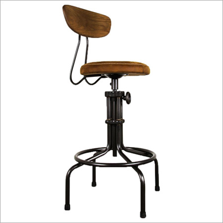 Industrial Adjustable Bar Stool With Back
