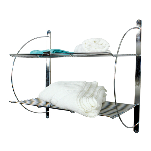 SS Bathroom Double Towel Shelf