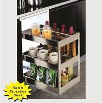 SS Kitchen Satin Bottle Pullout 3 Shelf