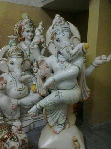 Dancing Marble Ganesh Statue