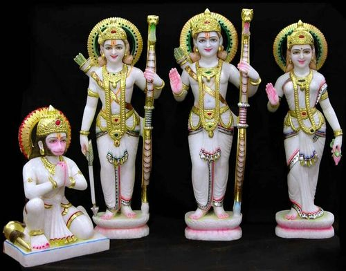 White Marble Ram Darbar Sculpture