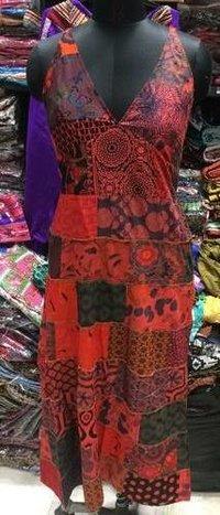 Ladies Patch Tunic Stonewash Long Dress