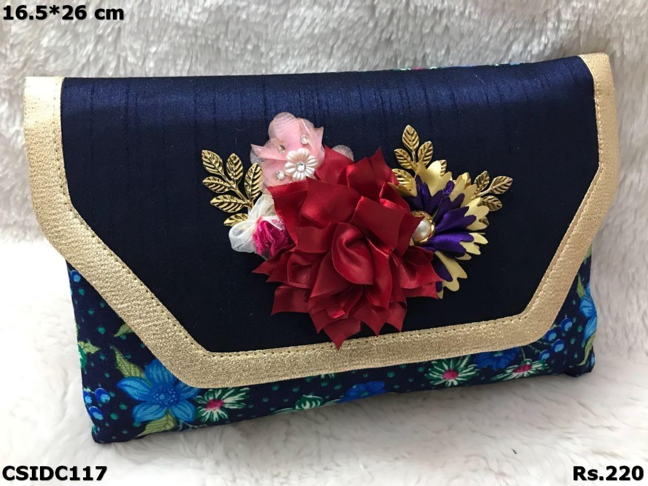Raw Silk Floral Printed Clutch