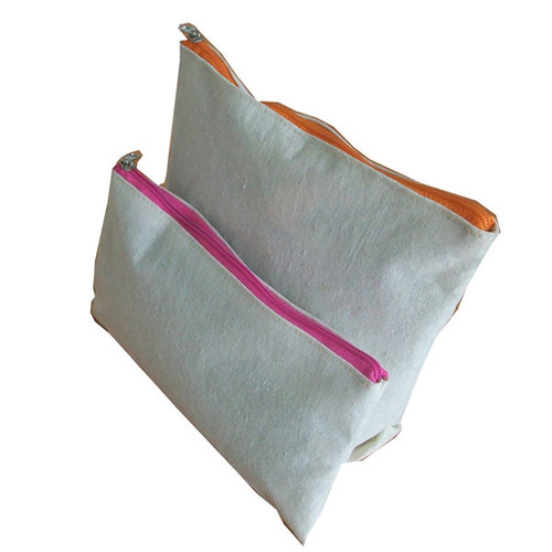 Canvas Pouch With Colorful Zipper