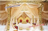 Golden Carved Wedding Mandap Decor