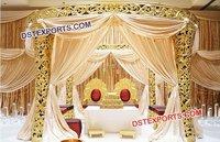 Golden Carved Wedding Mandap Decor