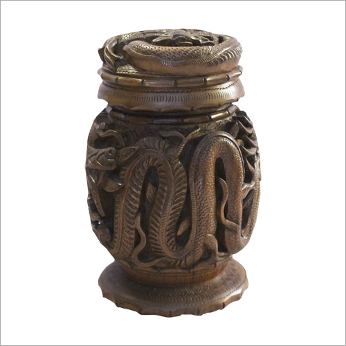 Wooden Carved Jar