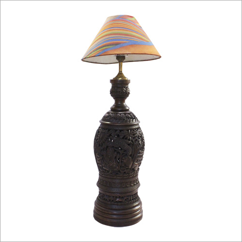 Wooden Carved Table Lamp