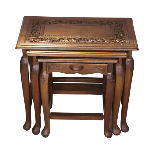 Designer Wooden Carved End Table Set