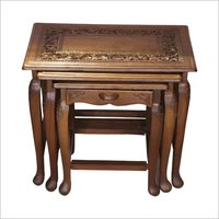 Designer Wooden Carved End Table Set