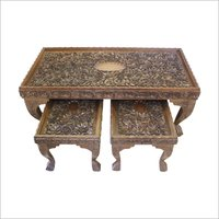 Wooden Carved End Tabe Set